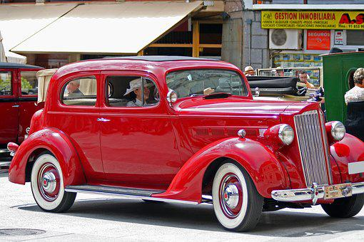 spain antique car red packard rally