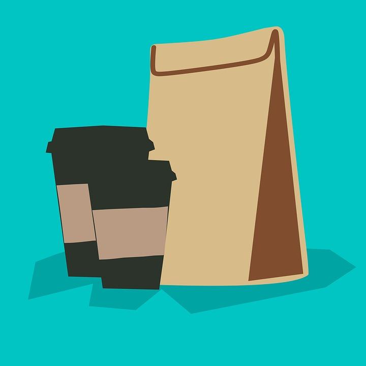 กาแฟ-ดื่ม, แม่แบบ, บรรจุภัณฑ์, ตัดออก, รุ่น-วัตถุ