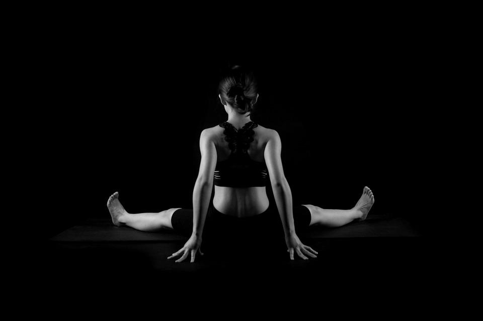 Yoga figure black and white characters female