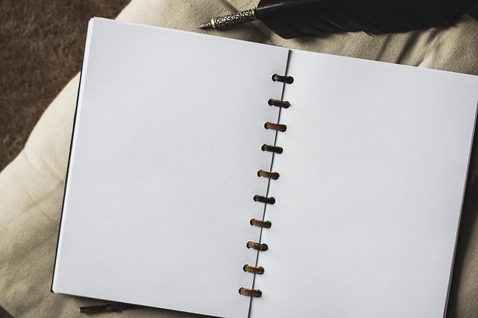 ハンドブック, 空の, カード, 白, 執筆, 書きます, 記録, メモ, ペン, ブラウン, ノートブック