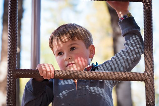 Kid, Boy, Climbing, Ladder
