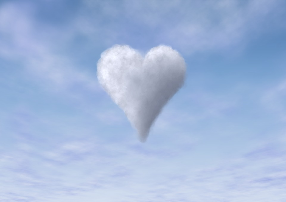 Cloud, Sky, Heart, Blue, Love, Love Story, Romantic