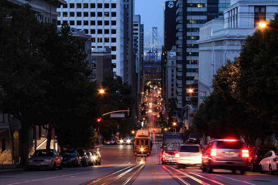 San Francisco Streets City Lights Urban Bay Travel Photo