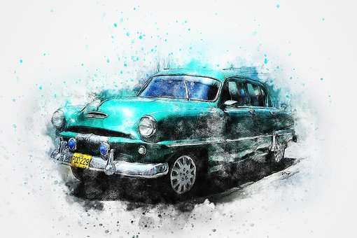 Car, Old Car, Art, Abstract, Watercolor