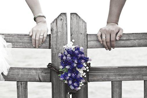 ウエディング, ロマンチックな, 花, 木製フェンス, 愛, 紫, ホワイト
