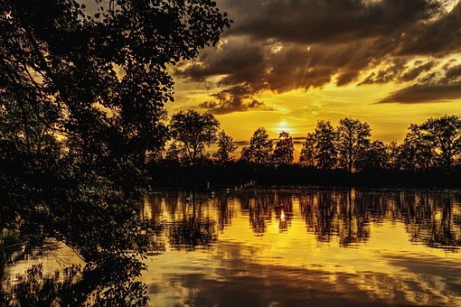 Sunset, Lake, Mirroring, Abendstimmung