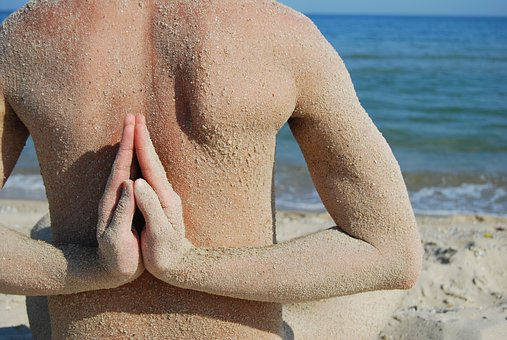 Yoga, Fingers, Sea, Sand