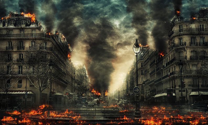 市, 災害, 世界の終わり, 火, 黙示録, 稲妻, 建物, 煙, 荒廃, 破壊