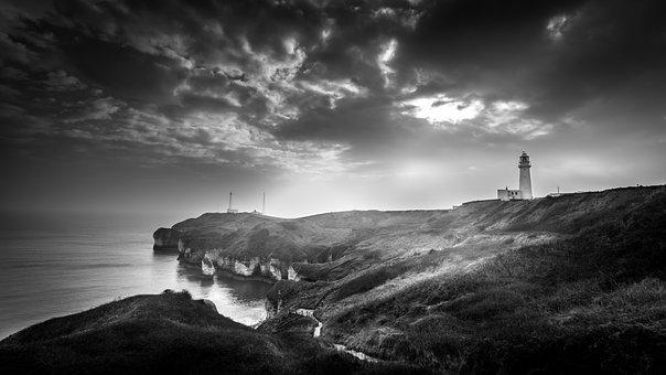 Moody, Seascape, Lighthouse