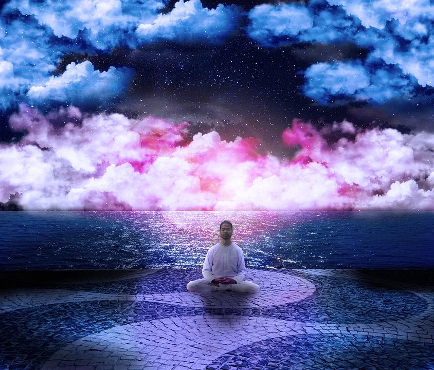 Cosmos, Postura, Lótus, Nuvens, Rosa, Azul, Sabedoria