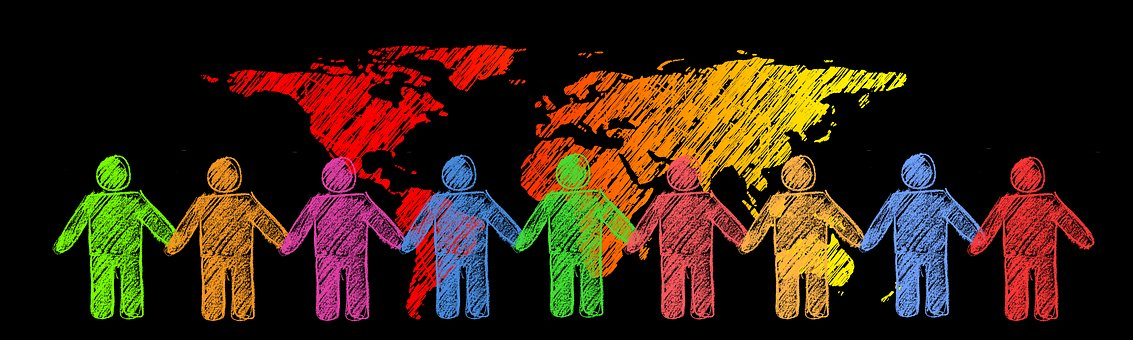 Drawing of map of the world on a dark background with simple images of people in different colors holding hands