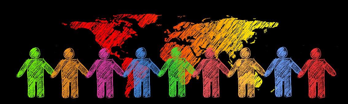 一緒に, 地球, 人間, シルエット, グローバル, 世界, 大陸