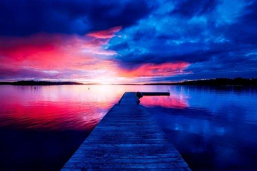 Suède, Coucher De Soleil, Crépuscule