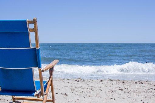 Beach, Sand, Ocean, Chair, Blue Sand