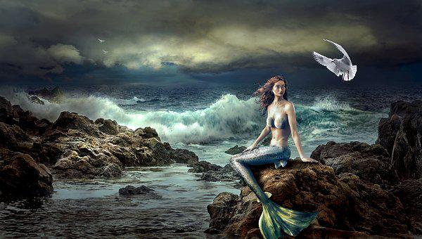Mermaid, Fantasy, Mystical, Nature, Sea