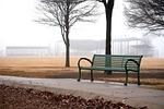 bench, park, fog