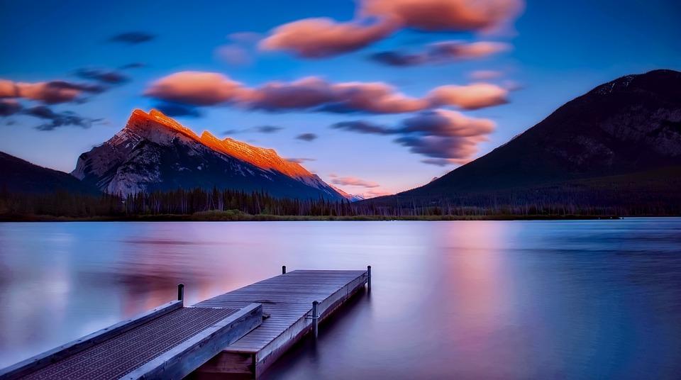 バンフ, 国立公園, カナダ, 観光, Hdr, 空, 雲, 日没, 夕暮れ, 桟橋, ドック, 山, 湖