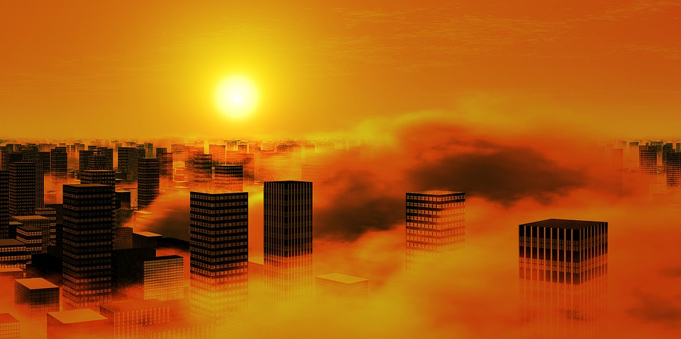 City, Sun, Clouds, Smog, Sky, Yellow, Orange, Moloch