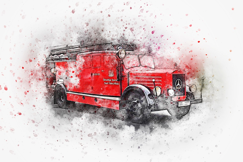 Vehicle Fire Truck Art Abstract Watercolor Auto