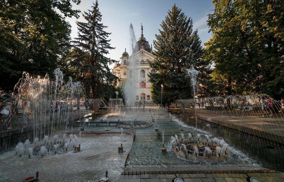 Košice Słowacja, Koszyce, Fontanna, Śpiewająca Fontanna