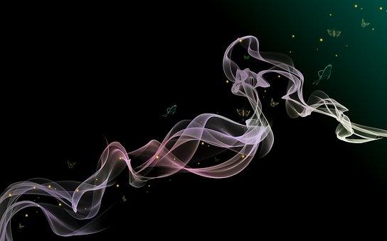 煙, 背景, 抽象的な, 渦, 色, デジタル アート, 喫煙, パターン