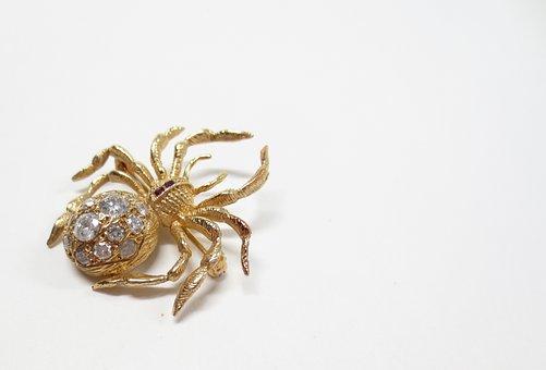 Spider, Pin, Brooch, Halloween, Spooky