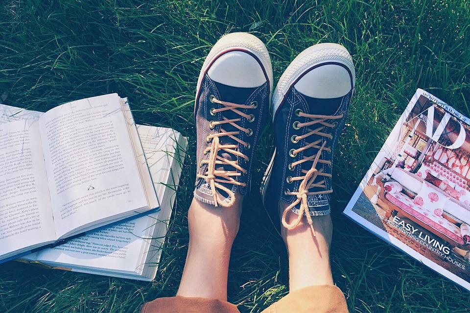 Books, Shoes, Person, Reading, Grass, Summer