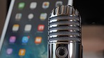 microphone, tablet, podcast