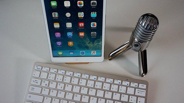 Microphone, Keyboard, Tablet, Podcast