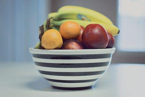 Fruit, Bowl, Stripes, Food, Healthy