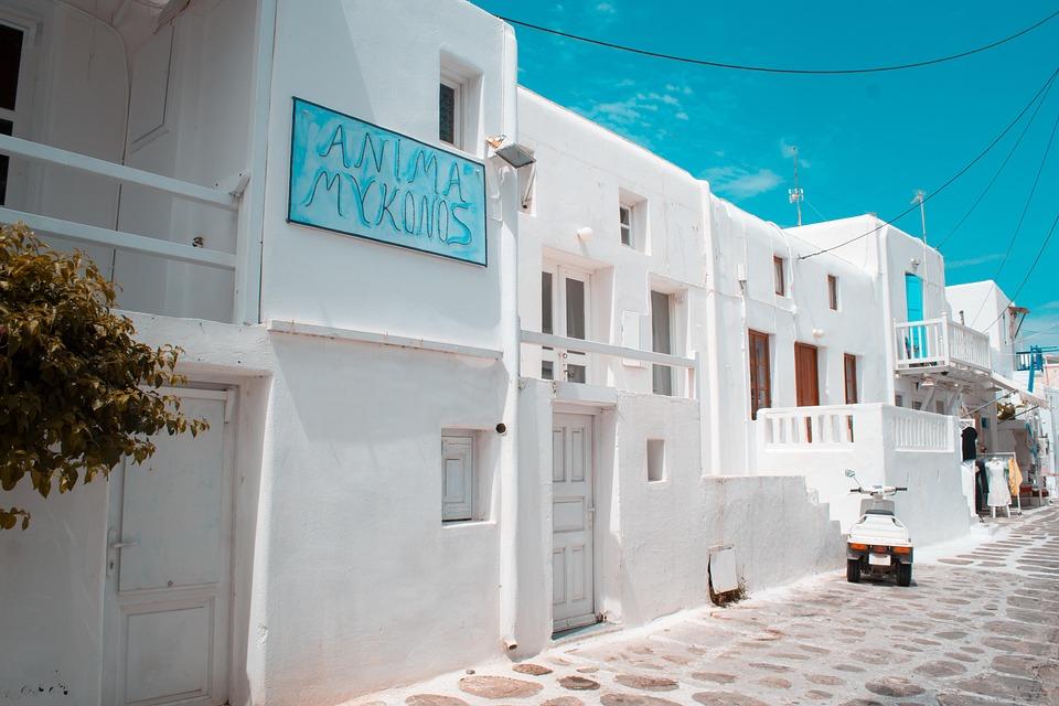 景觀, 希臘, 島, 克諾斯, 房子, 白, 夏天, 天空, 戶外, 景區, 風景, 目的地, 樹, 晚間