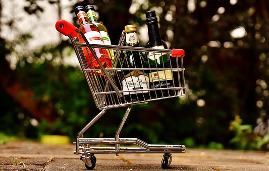 Shopping Cart, Wine Bottles, Shopping