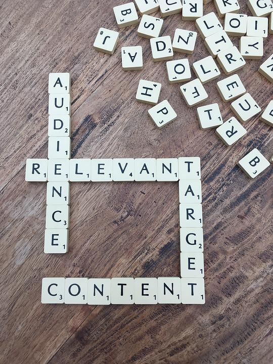 Audience, Relevant, Content, Target, Scrabble