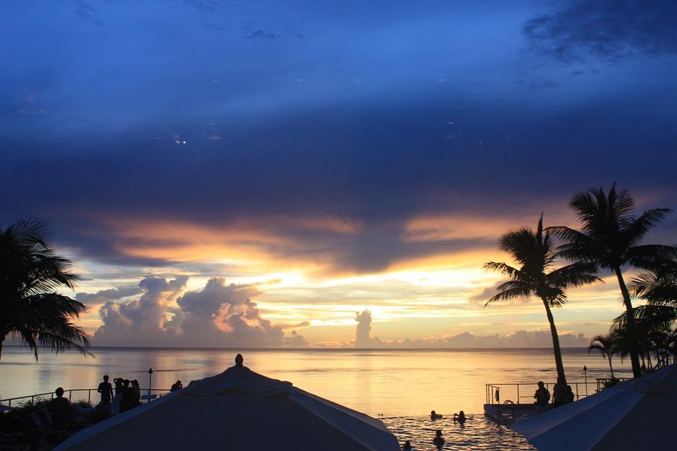 America, Guam, The Island Of Guam, Sunset, Beach