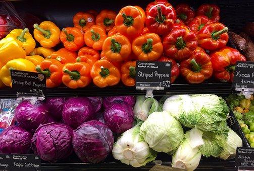 生産, 食料品, ストア, シェルフ, 野菜, ピーマン, カラフルです