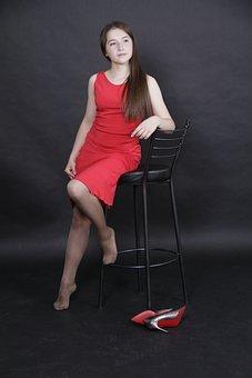 女の子, 赤, ドレス, 靴, 店, 椅子, 髪, かかと, ファッション屋