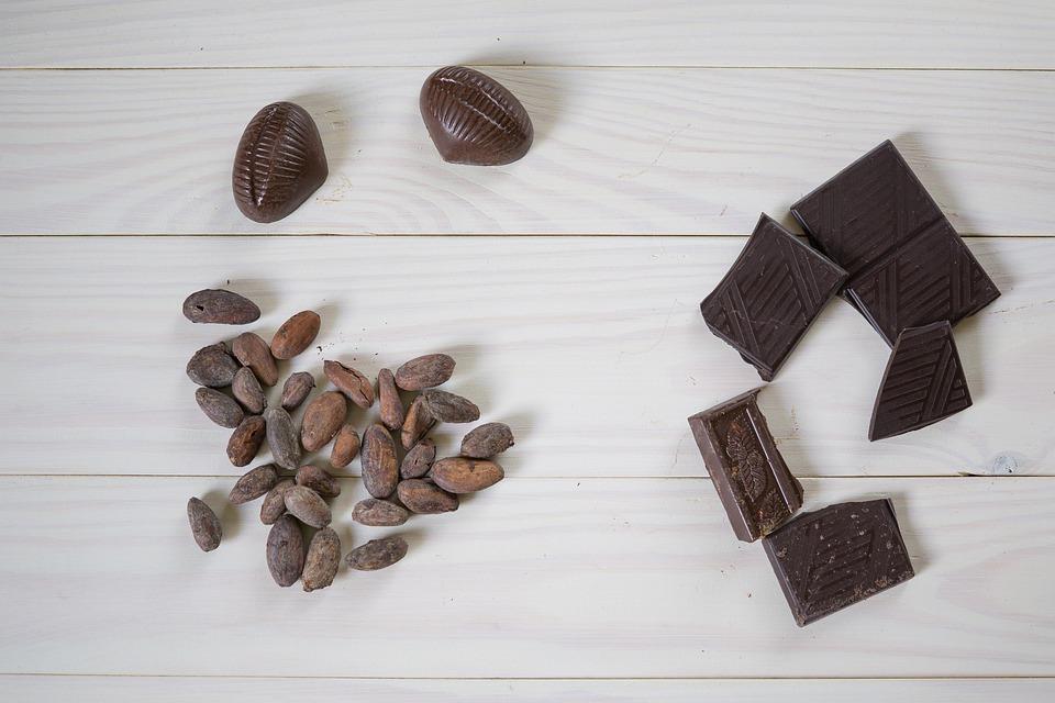 チョコレート, カカオ豆, ココア, お菓子, デザート, 甘い, 食べる, 平ら