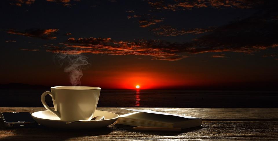 Bầu Trời, Coffe, Cup, Mặt Trời Mọc, Buổi Sáng, Biển