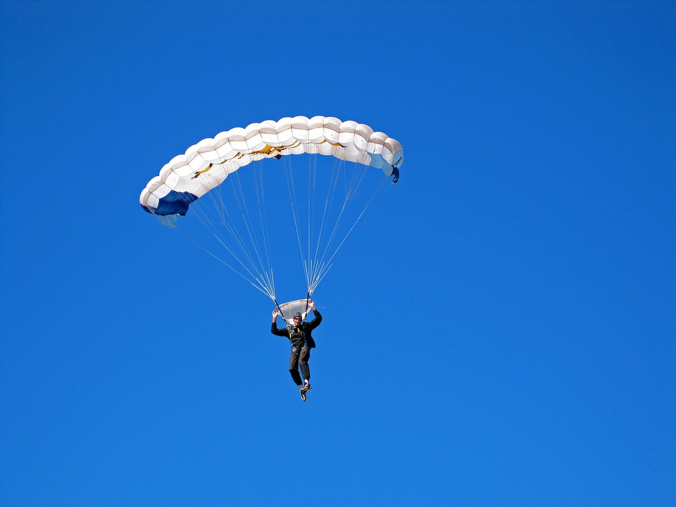 Parachutist Parachute Jump Canopy White Open Sky  sc 1 st  Pixabay & Free photo: Parachutist Parachute Jump - Free Image on Pixabay ...