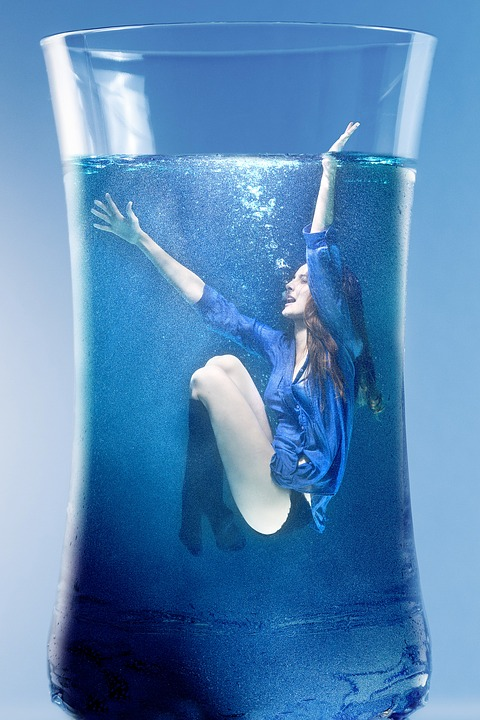 Woman, Water, Submerged, Glass, Drinking Glass, Female