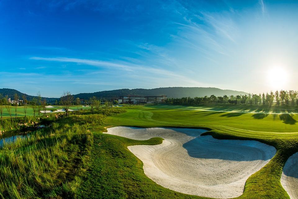 グリーン, ゴルフ, 青い空, 白い雲