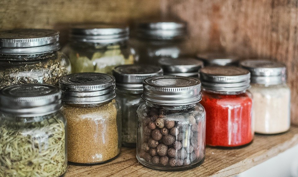 Spices, Shelf, Jar, Kitchen, Cooking, Wooden, Pepper
