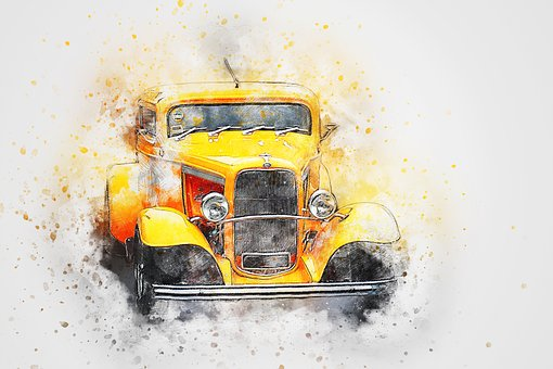 Car, Old Car, Ford, Art, Abstract