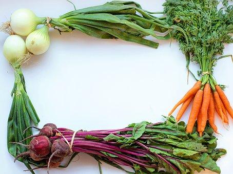 Vegetables, Frame, White Space