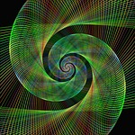 green, spiral, fractal