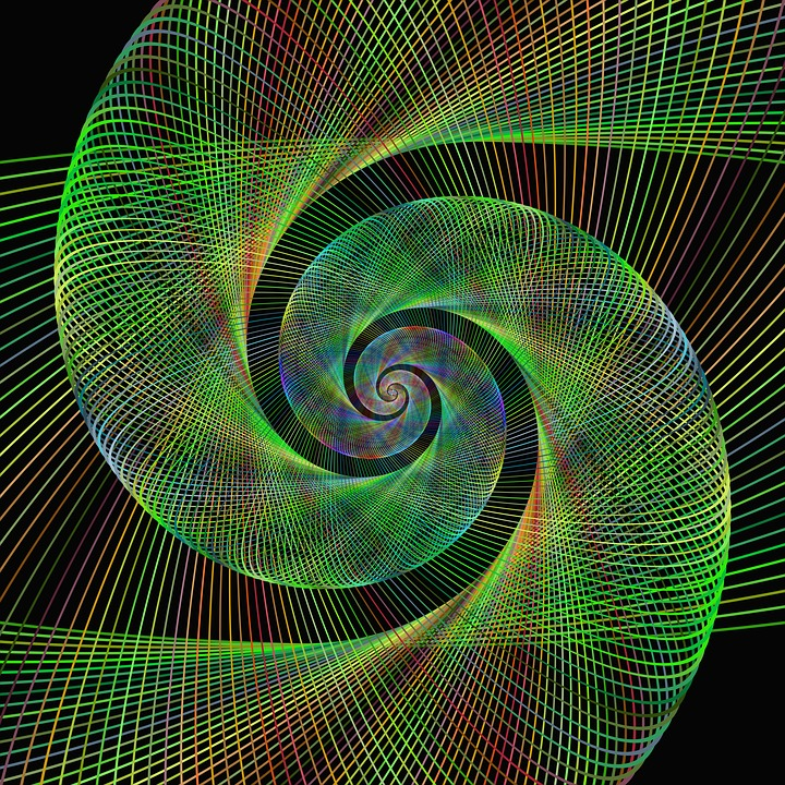 Green, Spiral, Fractal, Wired, Background, Swirl, Art