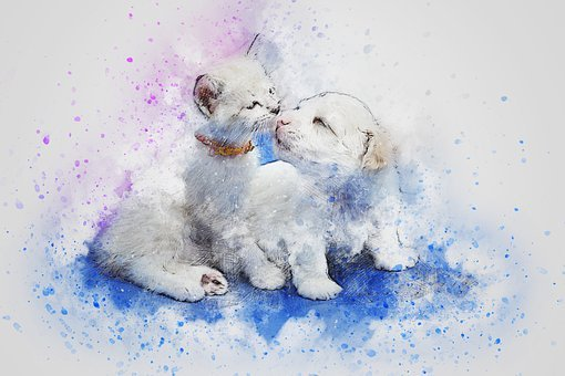 Art New Fashion The Friends Original Watercolor Cat And Dog Painting Animal Pet Kitty Puppy Art