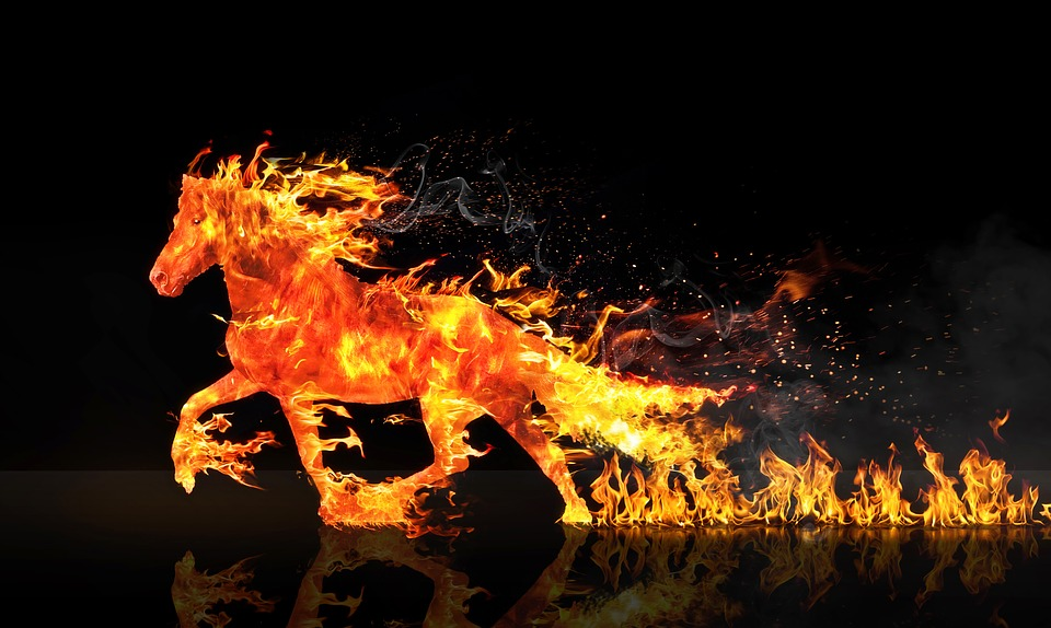 Free photo Fire Horse Horse Running Wastage Free Image on