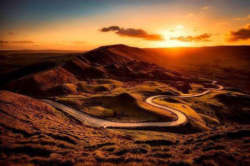 Inghilterra, Montagne, Colline, Tramonto