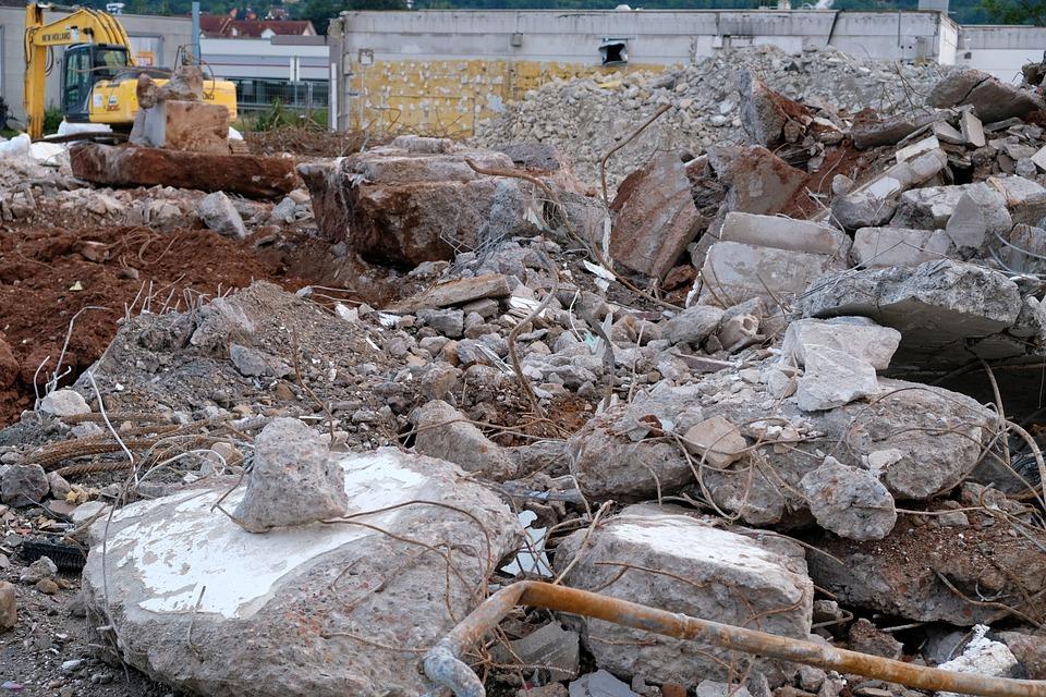 Construction, Building Rubble, Debris, Demolition, Site